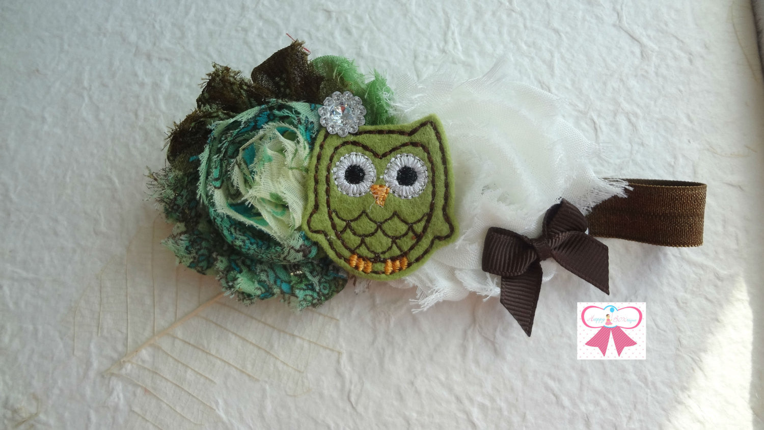Ivory Green Floral Owl Headband - Happy BOWtique - children's clothing, Baby Girl clothing