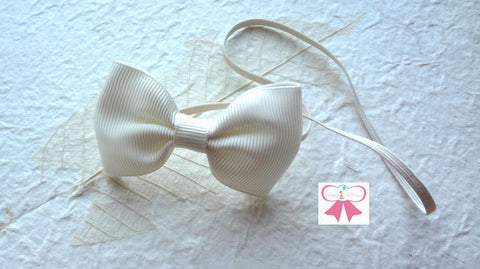 Ivory Bow Headband - Happy BOWtique - children's clothing, Baby Girl clothing