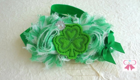 St Pattys headband, St. Patricks Felt Clover headband, Baby Girl Green Clover Headband, Newborn headband, - Happy BOWtique - children's clothing, Baby Girl clothing