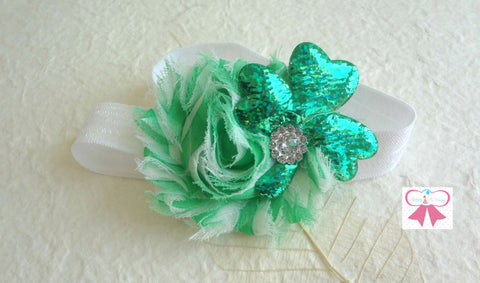 St Pattys headband, St. Patricks Glitter Clover headband, Baby Girl Green Clover Headband, Newborn headband, - Happy BOWtique - children's clothing, Baby Girl clothing