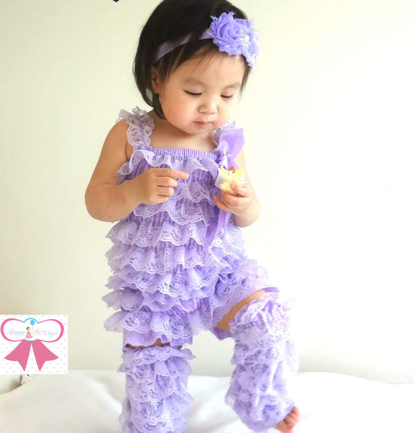 Baby Girl Lavender Petti Lace Romper ~Girl Easter Romper - Happy BOWtique -  children s clothing 2d98d5182e15