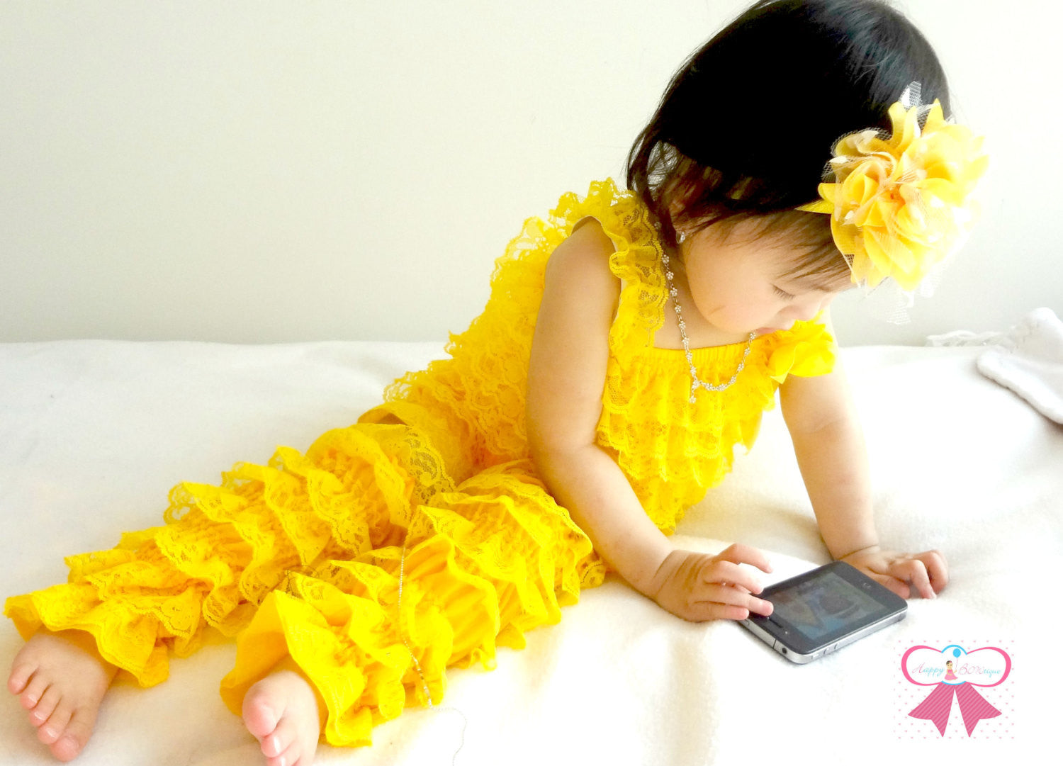 Spring Yellow Petti lace Romper - Happy BOWtique - children's clothing, Baby Girl clothing