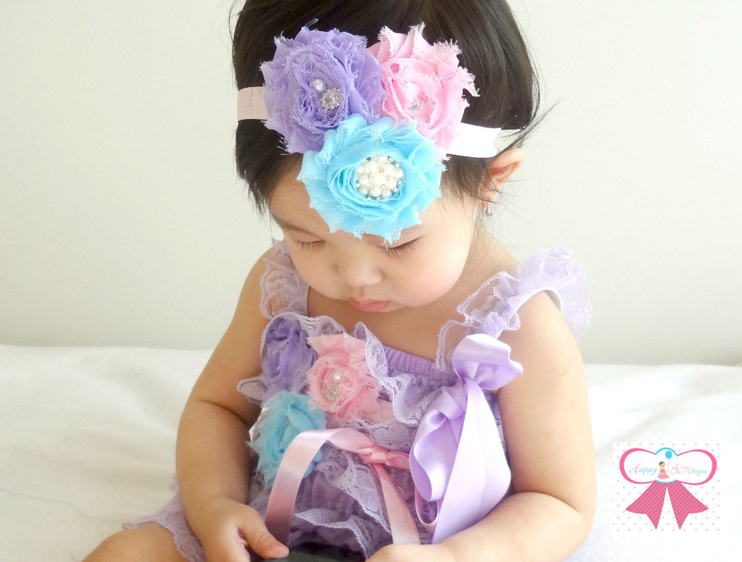 Lavender Easter Lace Petti Romper - Happy BOWtique - children's clothing, Baby Girl clothing