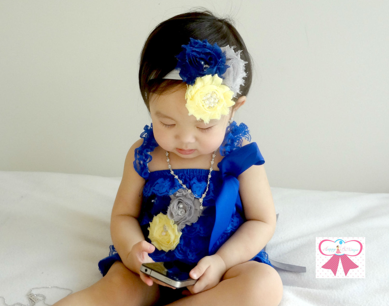 Royal Blue Yellow and Grey Lace Petti Romper set - Happy BOWtique - children's clothing, Baby Girl clothing