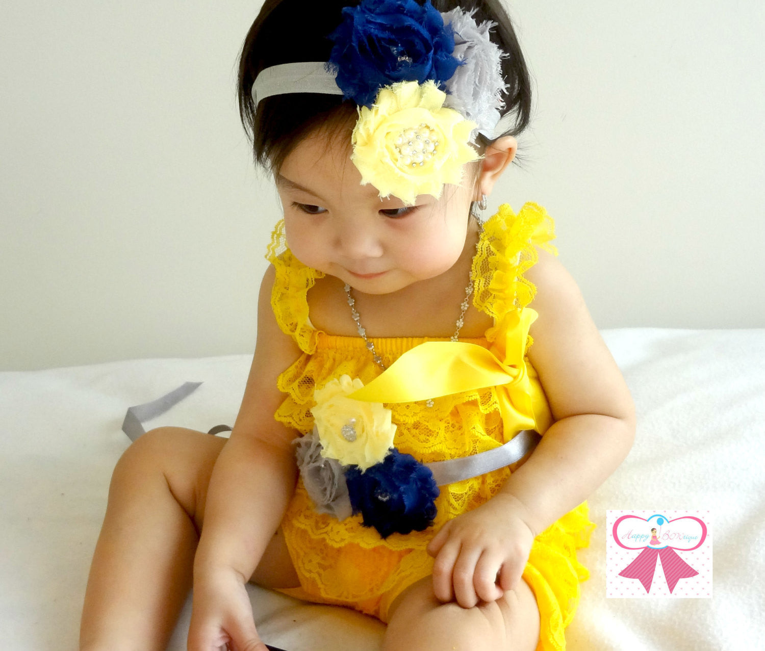 Yellow, Grey, and Blue Lace Petti Romper set - Happy BOWtique - children's clothing, Baby Girl clothing