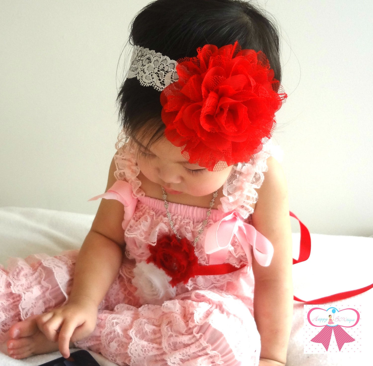 Large Red Chiffon Lace Flower Puff Headband - Happy BOWtique - children's clothing, Baby Girl clothing