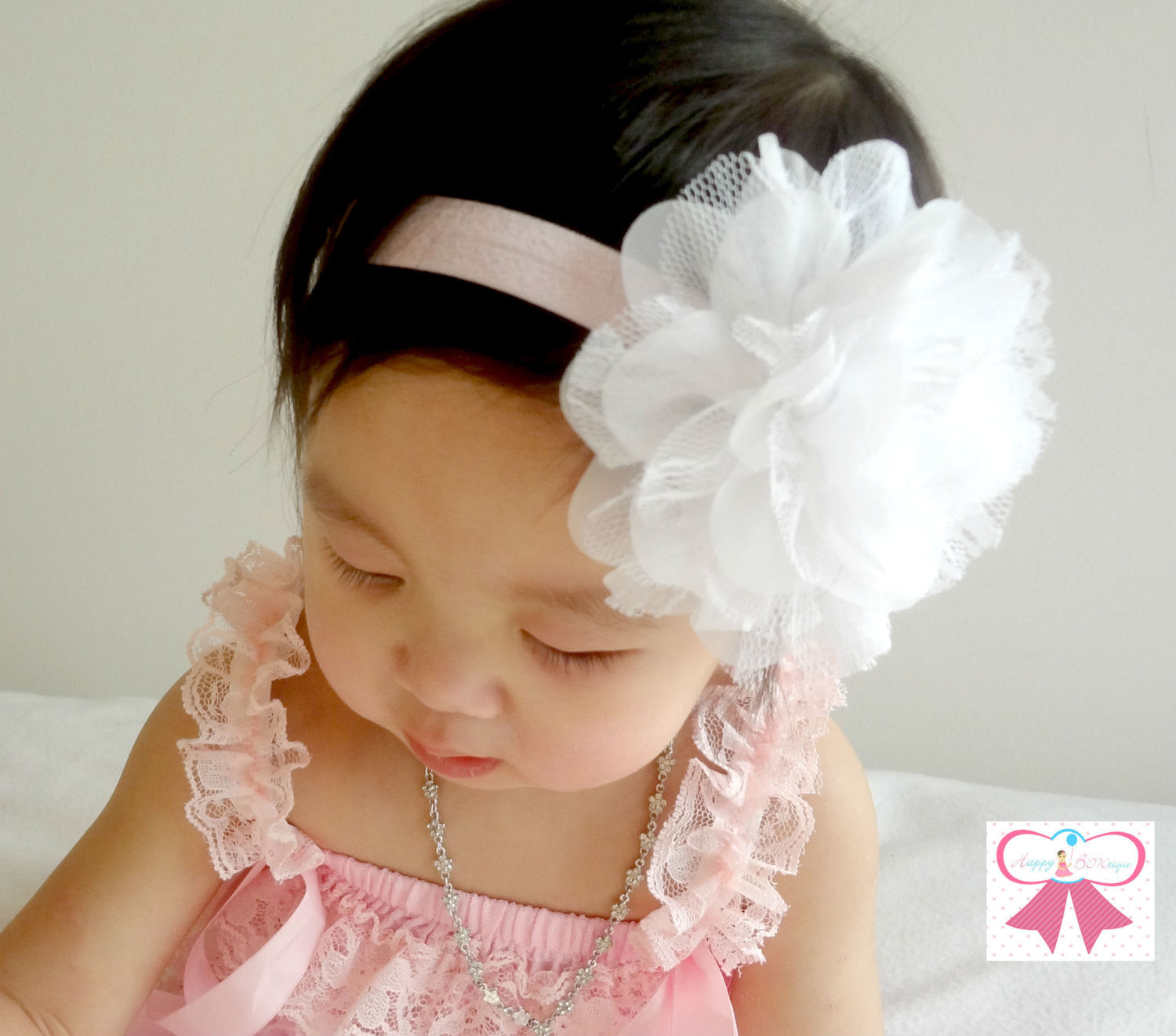 Large Silver Grey Chiffon Lace flower puff headband - Happy BOWtique - children's clothing, Baby Girl clothing