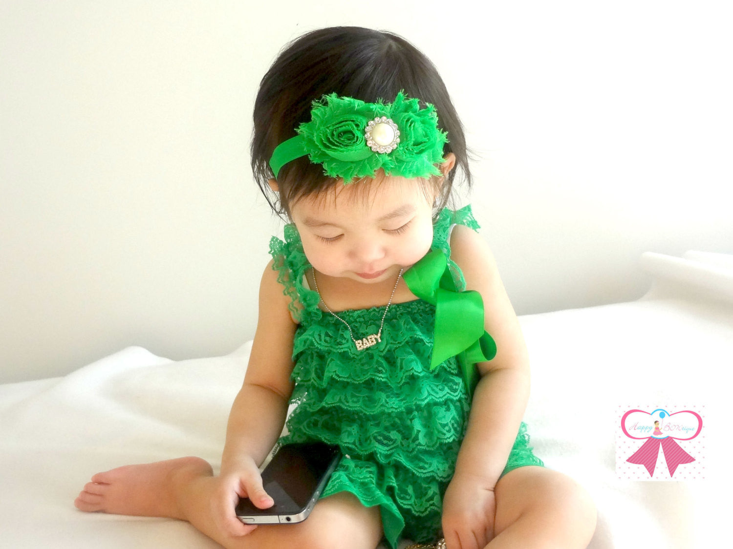 Lovely Emeral Green Lace Petti Romper - Happy BOWtique - children's clothing, Baby Girl clothing