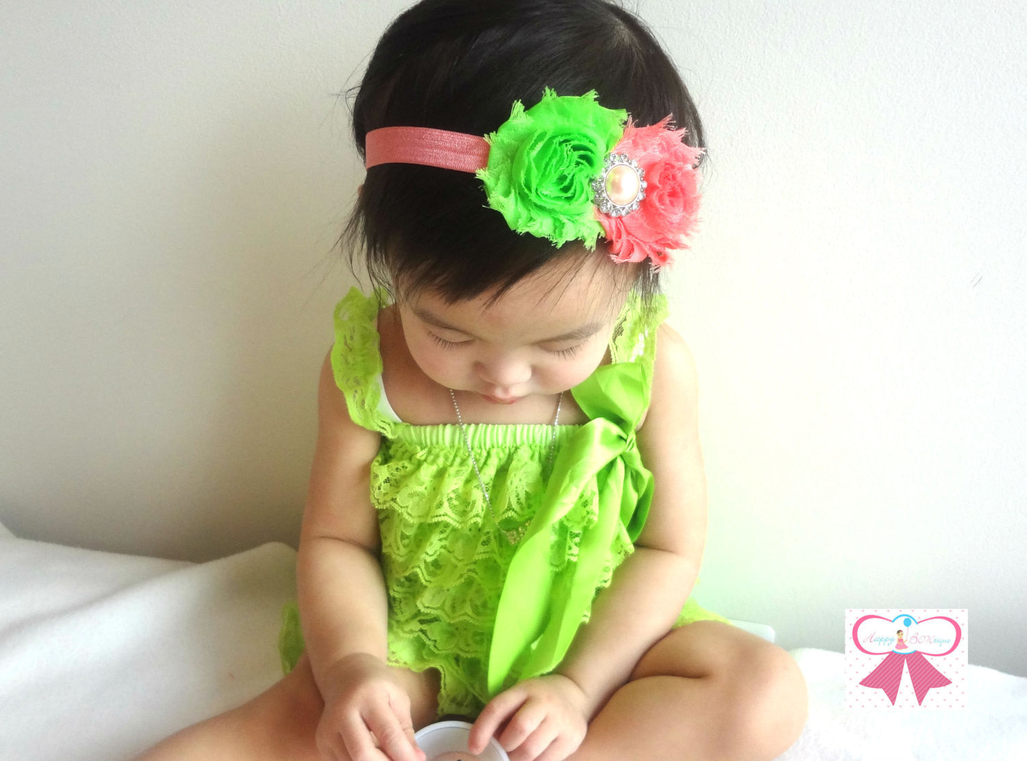 Lime Petti Lace Romper - Happy BOWtique - children's clothing, Baby Girl clothing