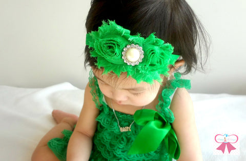 Shabby Duo Emeral Green Baby Girls headband, Green Headband, St Patricks headband, newborn headband, baby girls headband - Happy BOWtique - children's clothing, Baby Girl clothing