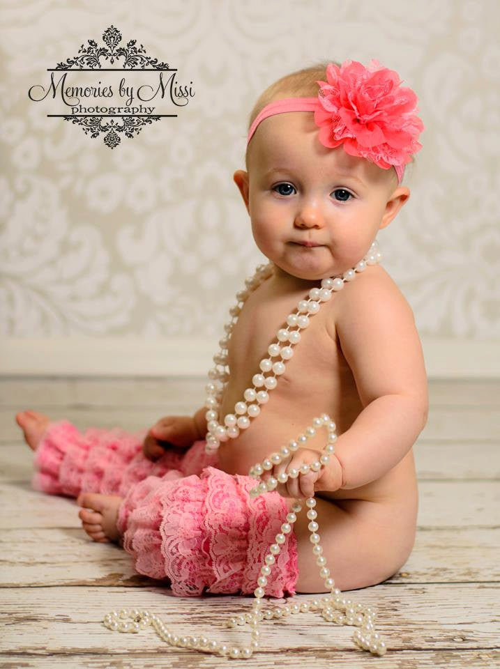 Large Coral Chiffon Lace Flower Puff Headband - Happy BOWtique - children's clothing, Baby Girl clothing