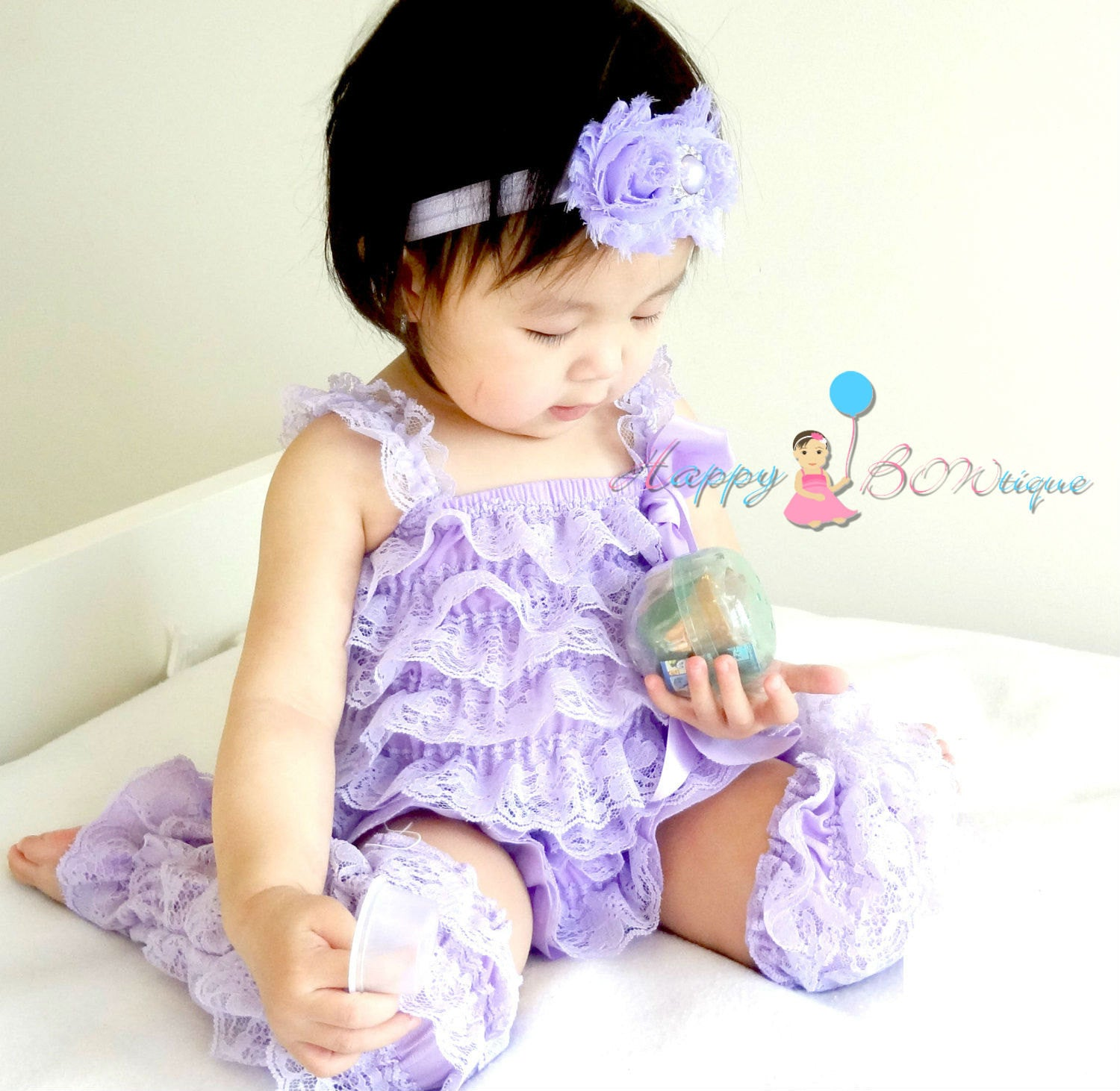Lavender Petti Lace Romper set-Girl Lavender Romper and leg warmers set- Happy Bowtique- Baby Girl clothing