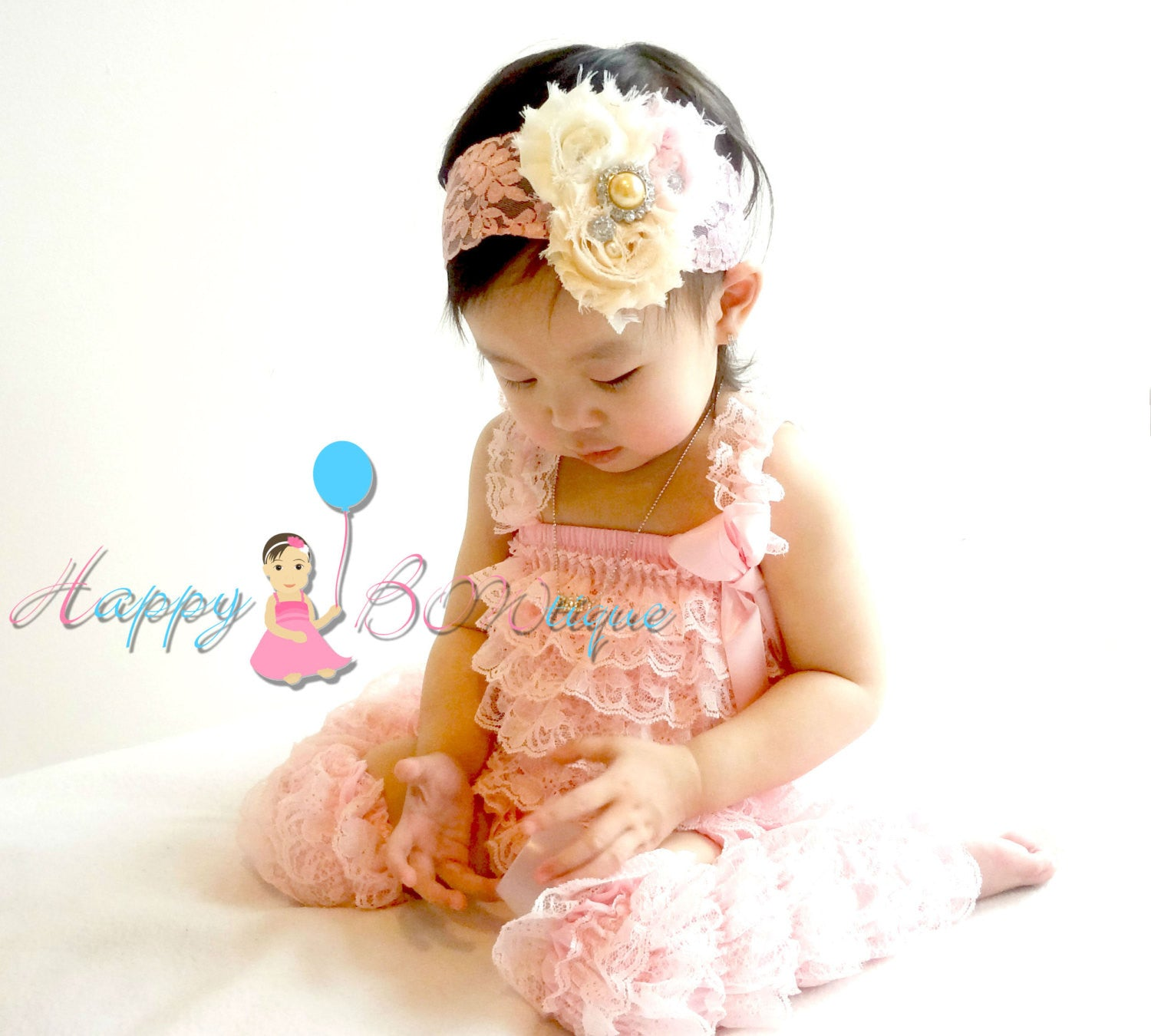 Champagne Pink Lace Romper set - Happy BOWtique - children's clothing, Baby Girl clothing