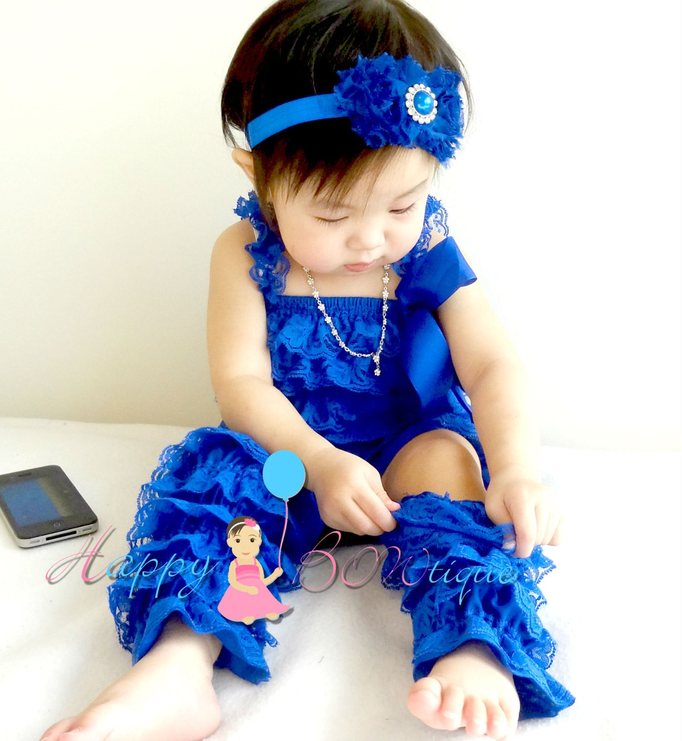 Royal Blue Petti lace Romper - Happy BOWtique - children's clothing, Baby Girl clothing