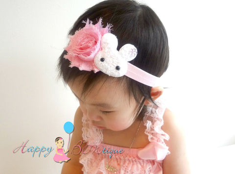 Easter Bunny headband / Pink White Bunny Girls headband - Happy BOWtique - children's clothing, Baby Girl clothing