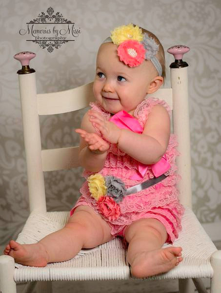 Coral Grey and Yellow Lace Petti Romper set - Happy BOWtique - children's clothing, Baby Girl clothing