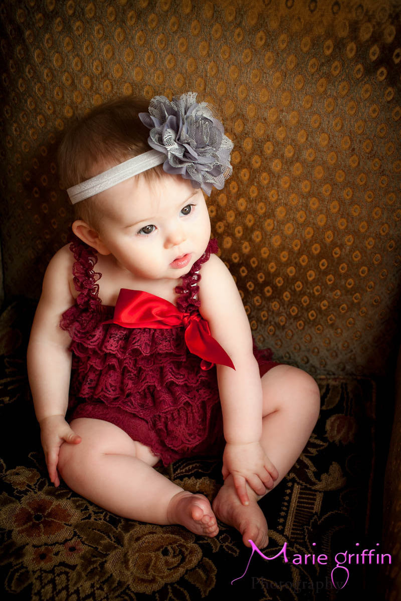 Burgundy Wine Lace Petti Romper - Happy BOWtique - children's clothing, Baby Girl clothing