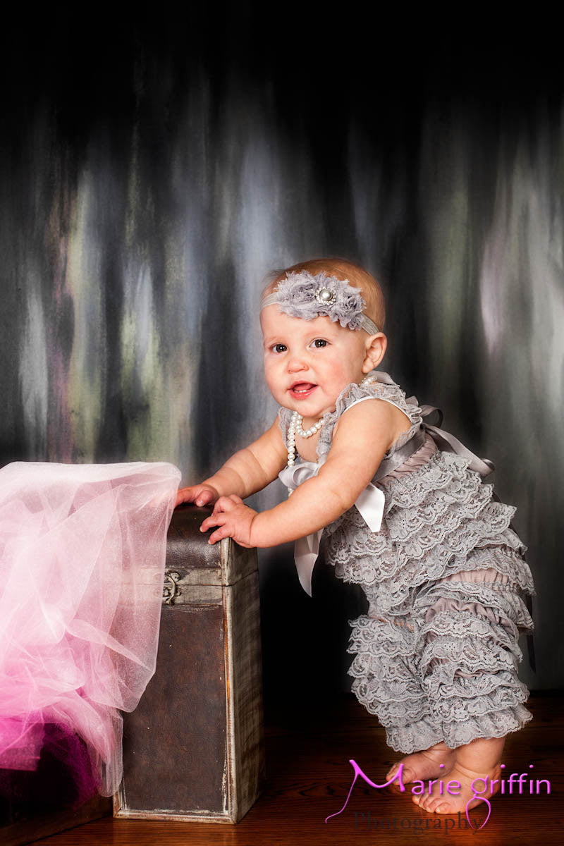 Silver Grey Lace Petti Romper set - Happy BOWtique - children's clothing, Baby Girl clothing