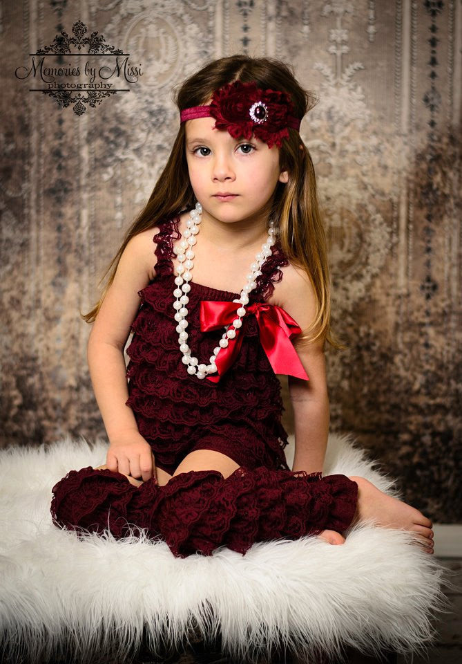 Rich Maroon Wine Duo Shabby Headband - Happy BOWtique - children's clothing, Baby Girl clothing