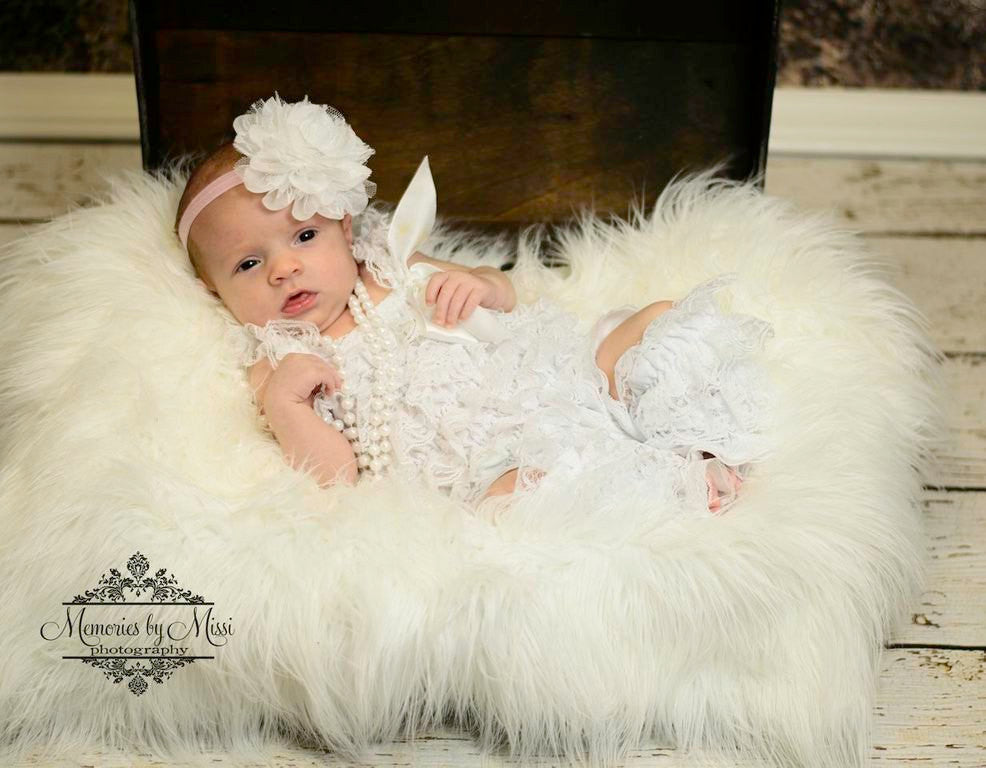 Lovely White Lace Petti Romper - Happy BOWtique - children's clothing, Baby Girl clothing