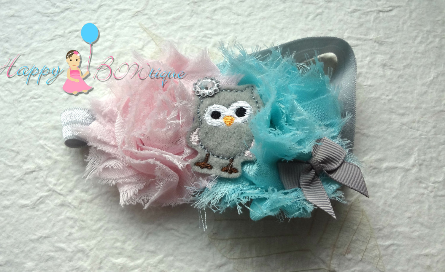 Baby Girl's Aqua Pink Owl headband/ Girls Owl Headband - Happy BOWtique - children's clothing, Baby Girl clothing