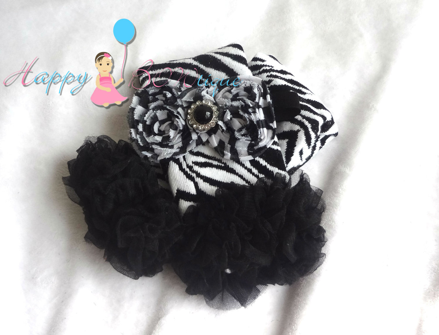 Zebra Tutus legwarmers & headband set - Happy BOWtique - children's clothing, Baby Girl clothing