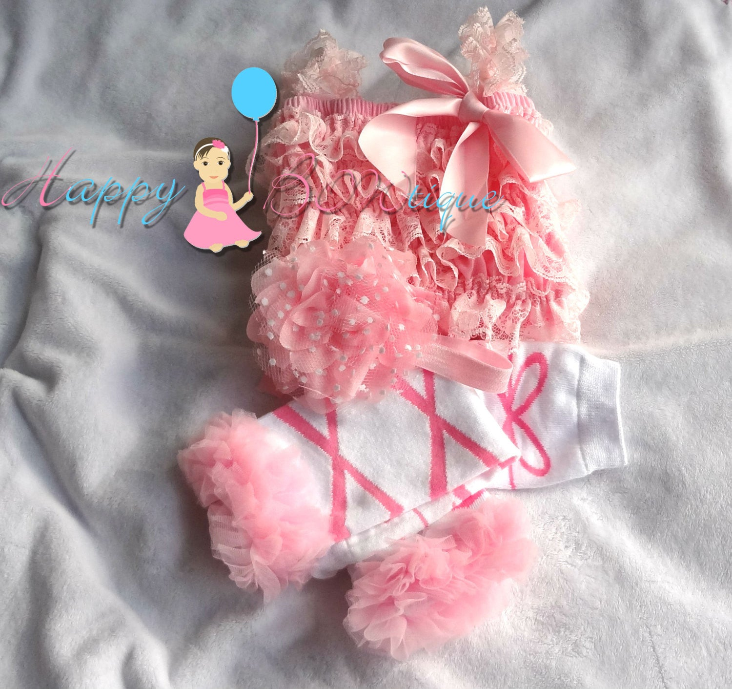 Hot Pink Ballerina Lace Petti Romper set - Happy BOWtique - children's clothing, Baby Girl clothing