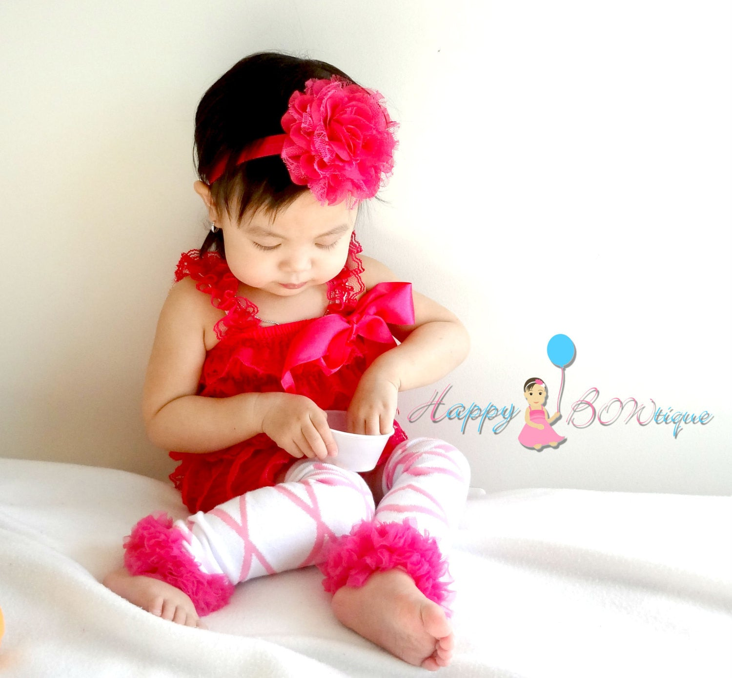Baby Pink Ballerina Lace Romper set - Happy BOWtique - children's clothing, Baby Girl clothing