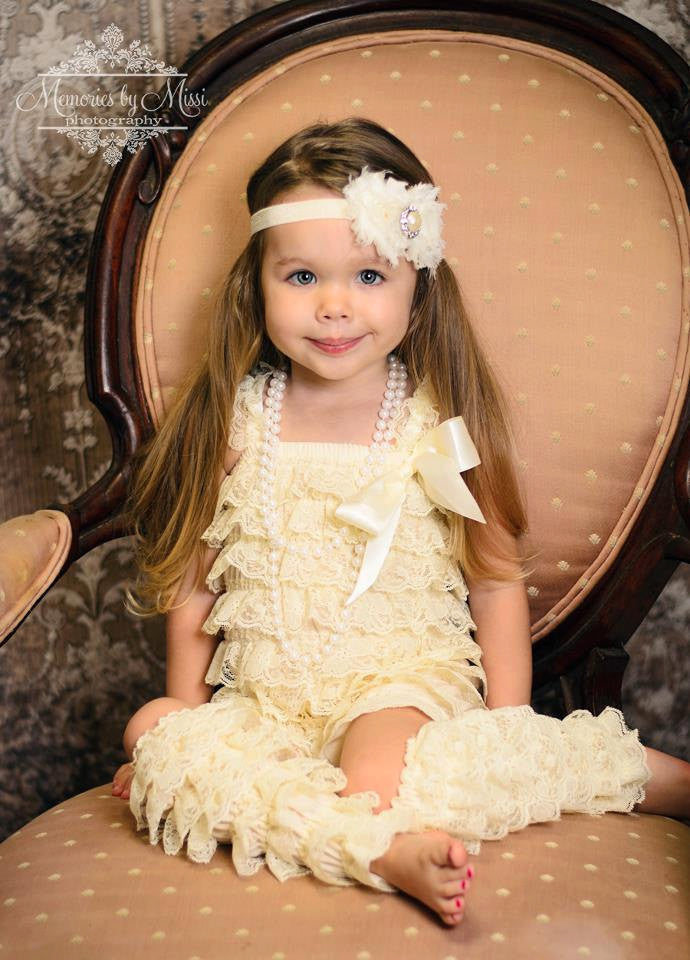 Duo Shabby Ivory Headband - Happy BOWtique - children's clothing, Baby Girl clothing