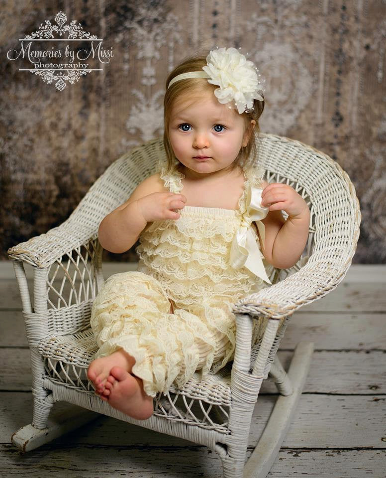 Vintage Ivory Cream Romper - Happy BOWtique - children's clothing, Baby Girl clothing