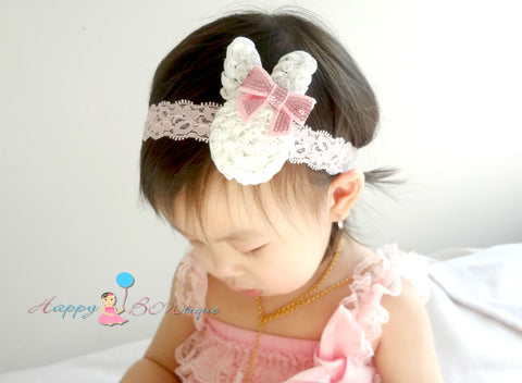 Baby Easter Headband/ Baby Girl's Easter bunny Lace headbdand, - Happy BOWtique - children's clothing, Baby Girl clothing