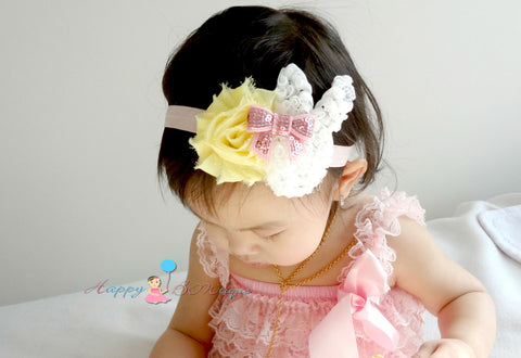 Baby Girl's Easter Headband /Girl's Bunny Yellow Pink headband - Happy BOWtique - children's clothing, Baby Girl clothing