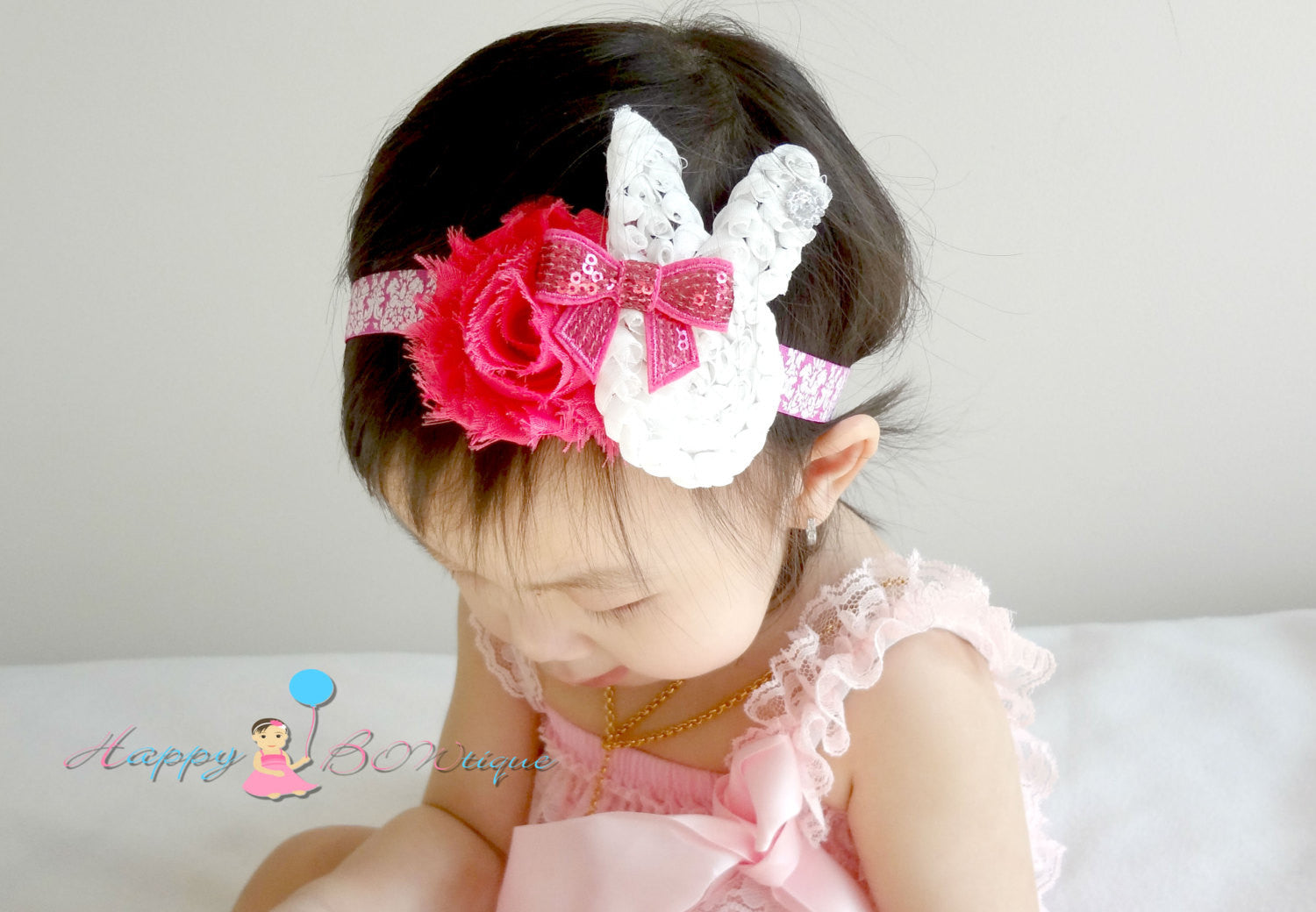 Baby Girl's Easter Headband / Girl's Shabby Bunny Pink and Grey headband - Happy BOWtique - children's clothing, Baby Girl clothing
