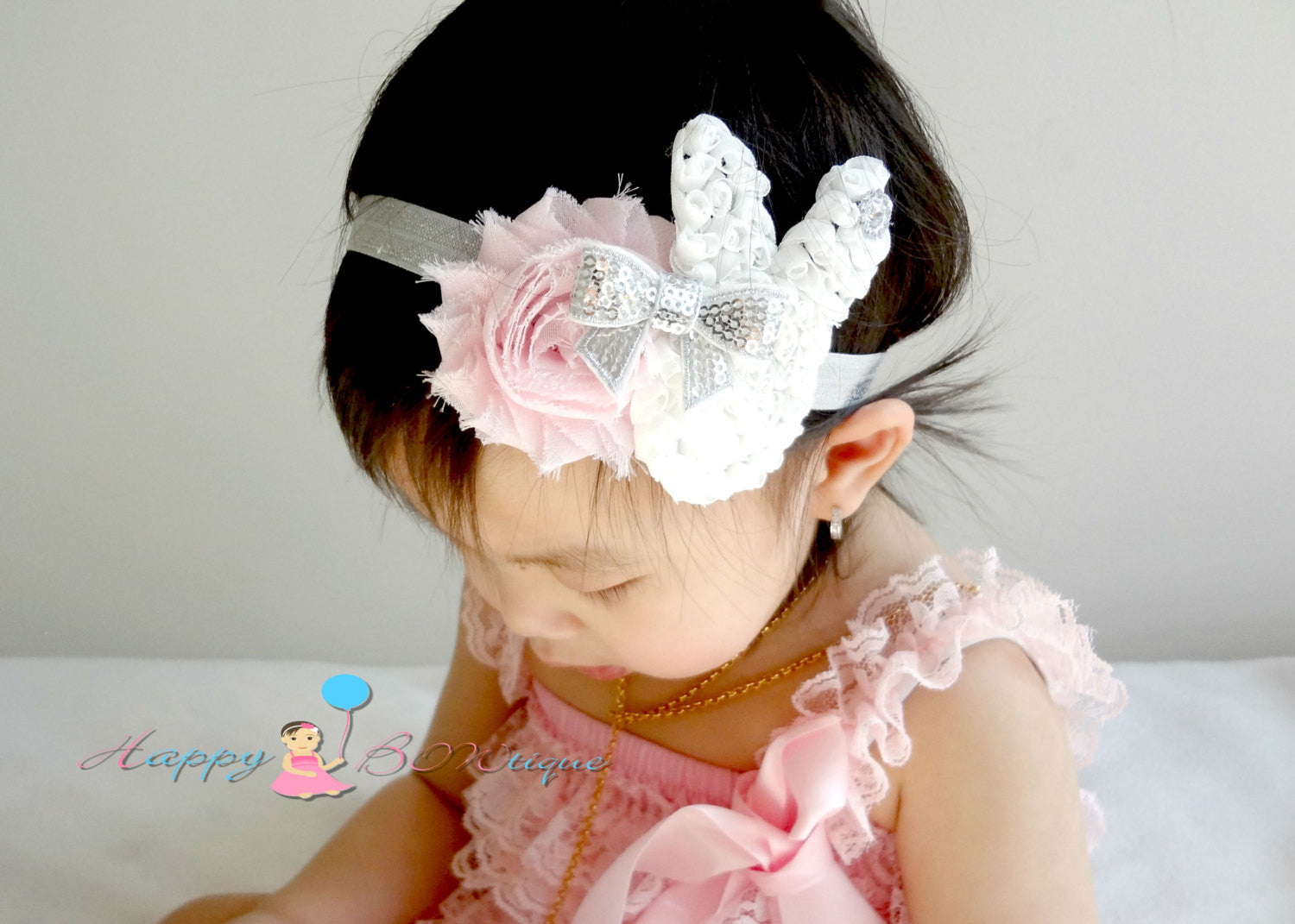 U pick Easter Headband / Shabby flower and Bunny Chiffon headband - Happy BOWtique - children's clothing, Baby Girl clothing