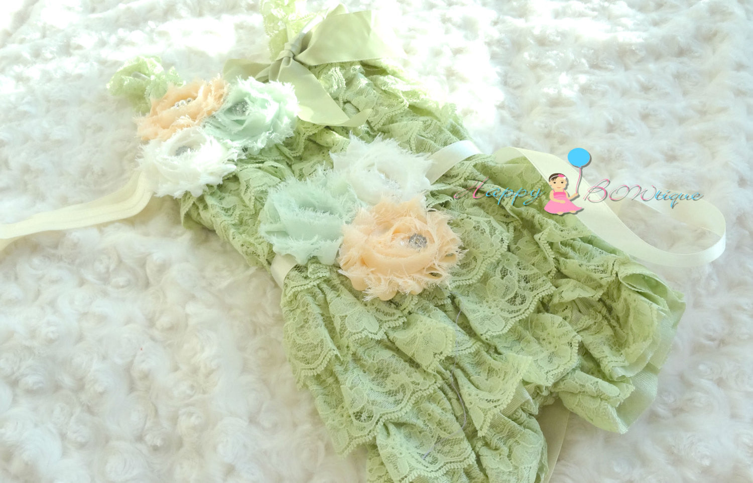Blush Ivory Mint Green Lace Petti Romper - Happy BOWtique - children's clothing, Baby Girl clothing