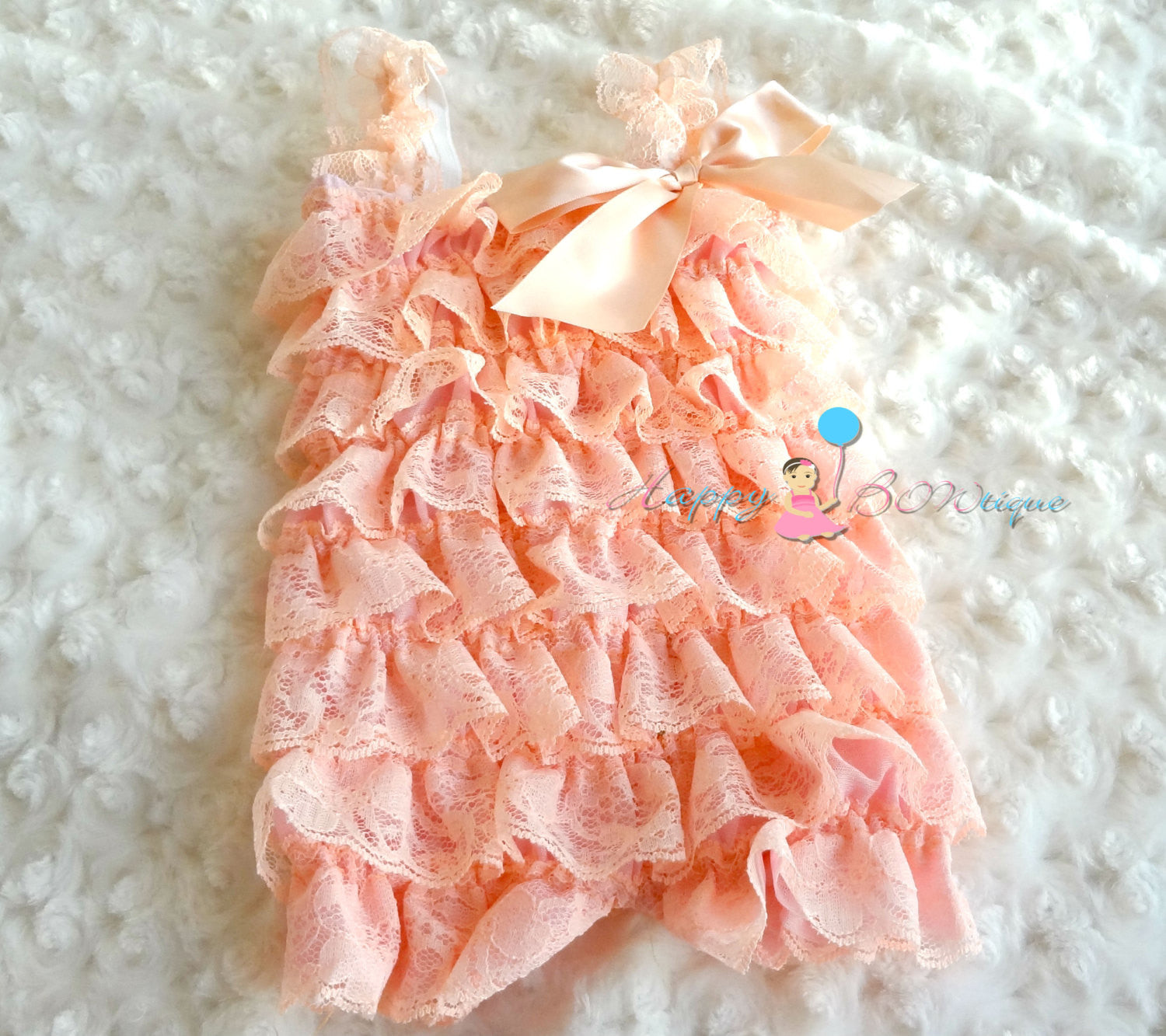 Ivory Mint Blush Peach Lace Petti Romper set - Happy BOWtique - children's clothing, Baby Girl clothing