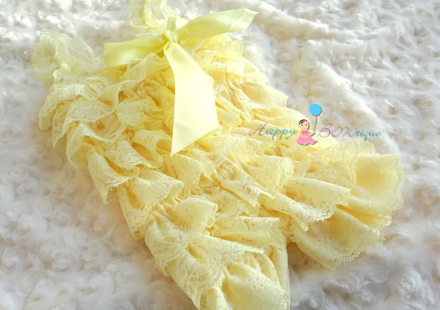 Pale Yellow Lace Petti Romper set - Happy BOWtique - children's clothing, Baby Girl clothing