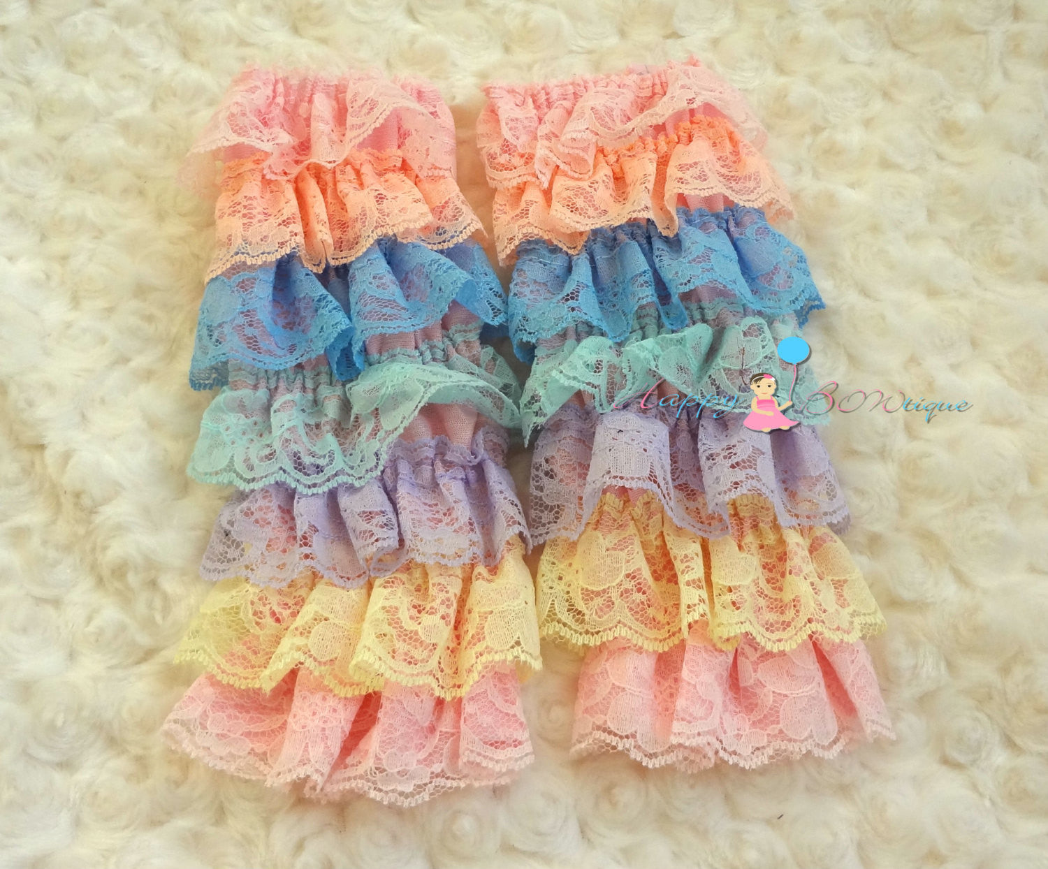 Satin Vintage Roses Petti Lace Leg Warmers - Happy BOWtique - children's clothing, Baby Girl clothing