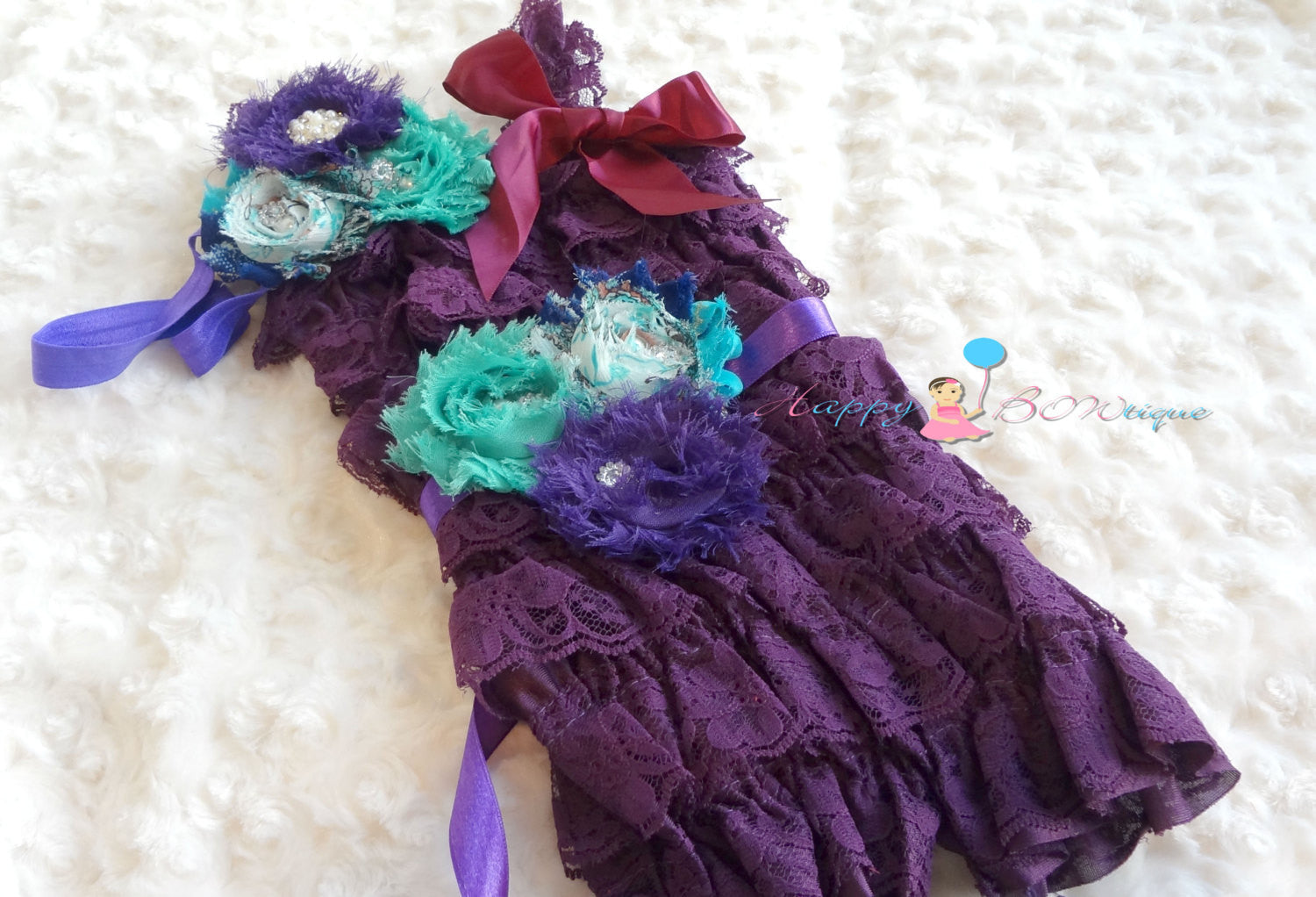 Dark Purple Lace Petti Romper set - Happy BOWtique - children's clothing, Baby Girl clothing