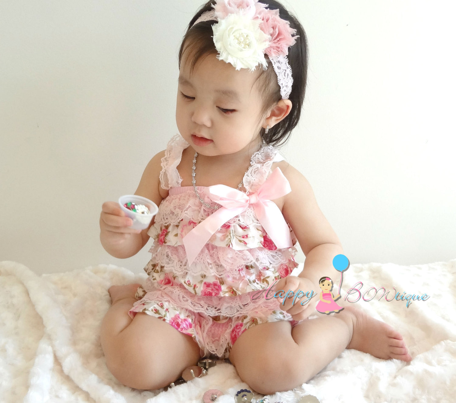 Vintage Roses Lace Romper - Happy BOWtique - children's clothing, Baby Girl clothing