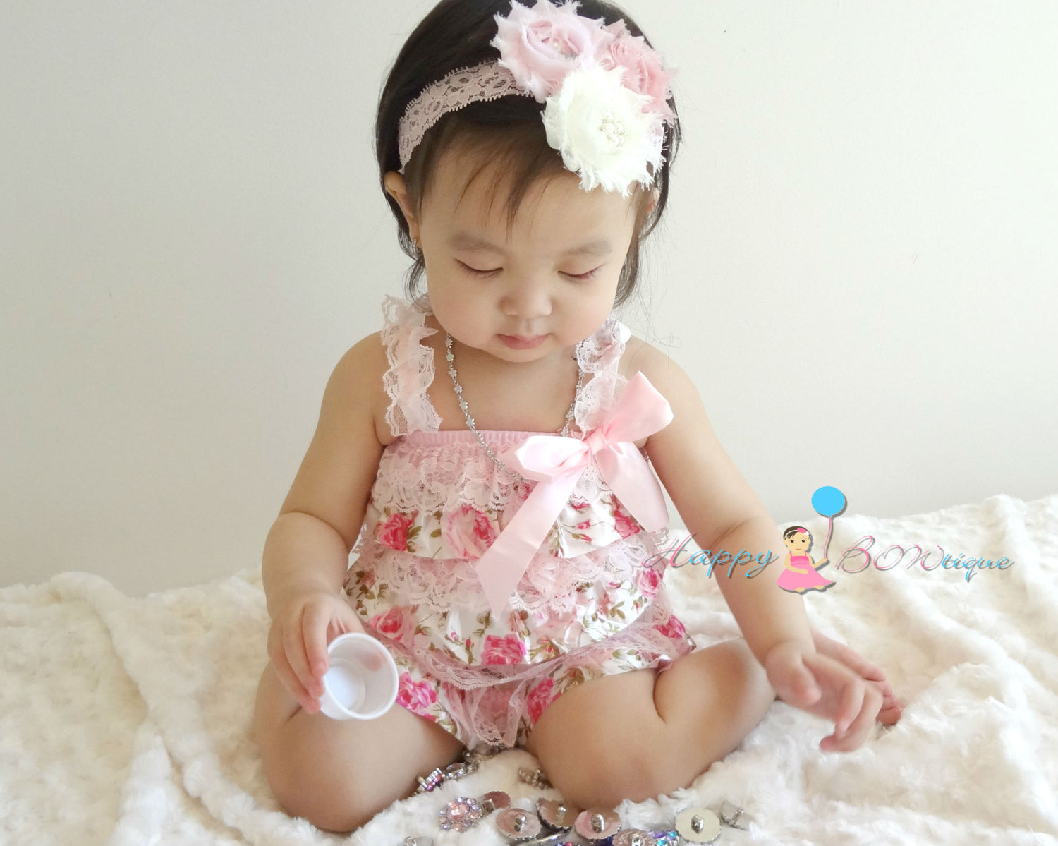 Baby Girl Vintage Roses Lace Romper set/ Baby Petti Lace Romper - Happy BOWtique - children's clothing, Baby Girl clothing