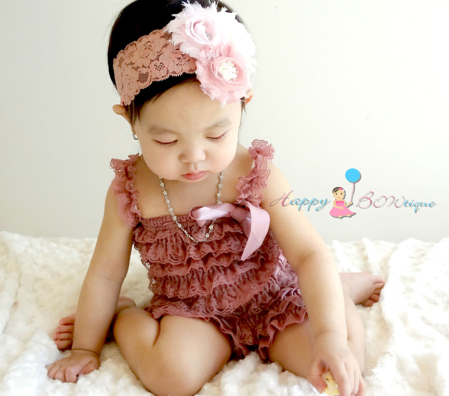 Baby Dusty Rose Lace Petti Romper set ~ Girl Dusty Rose Romper, Happy Bowtique