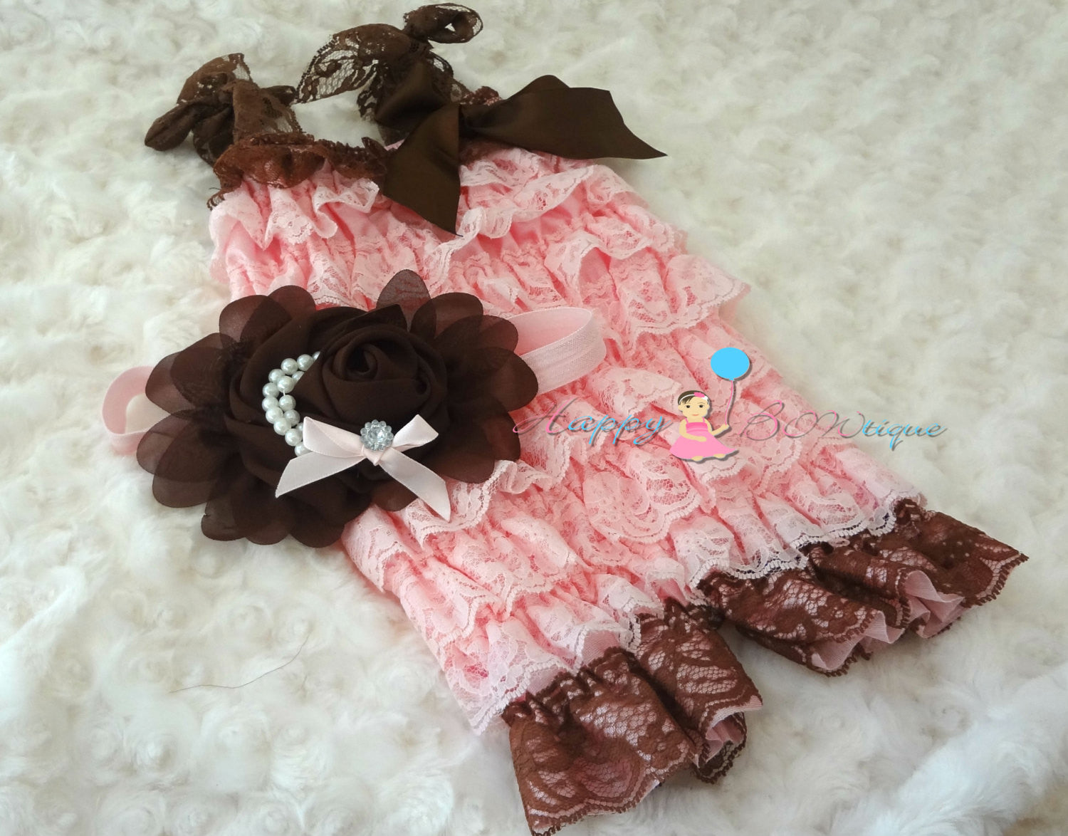 New Chocolate Pink Petti Lace Romper - Happy BOWtique - children's clothing, Baby Girl clothing