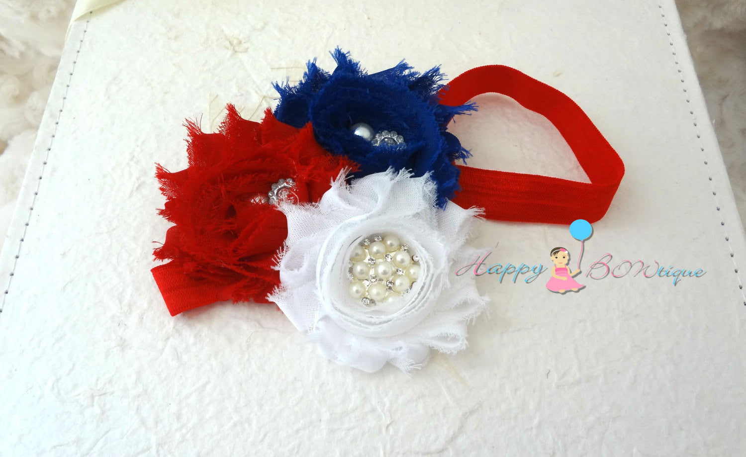 4th of July Trio Shabby Cluster headband, Baby girl headband, newborn headband,  photo props, birthday headband, 4th of july, USA - Happy BOWtique - children's clothing, Baby Girl clothing