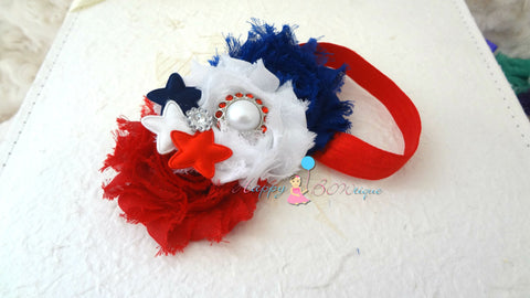4th of July Stars Trio Shabby headband, Baby girl headband, newborn headband,  photo props, birthday headband, 4th of july, USA - Happy BOWtique - children's clothing, Baby Girl clothing