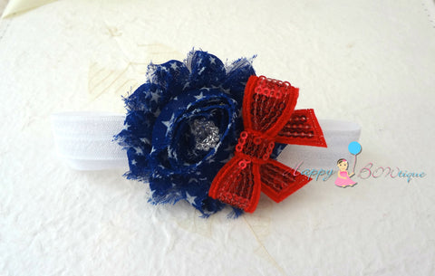 4th of July Stars Shabby headband, Baby girl headband, newborn headband,  photo props, birthday headband, 4th of july, USA - Happy BOWtique - children's clothing, Baby Girl clothing