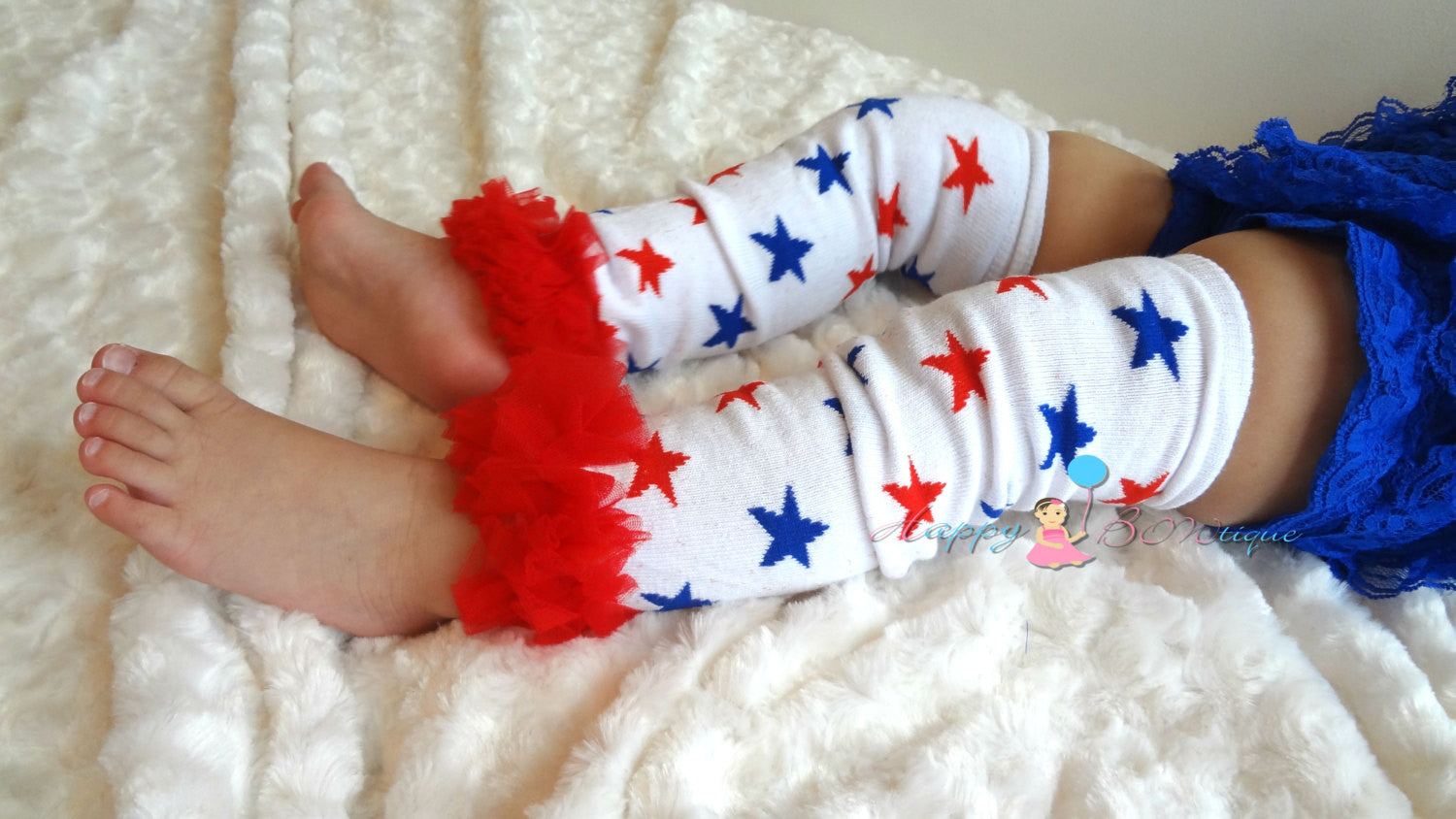 4th of July Stars Leg Warmers, Ruffle chiffon leg warmers, baby girls, girls leg warmers, baby leg warmers, USA, July 4th - Happy BOWtique - children's clothing, Baby Girl clothing