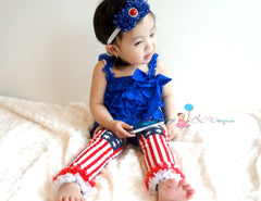 4th of July Royal Blue Lace Petti Romper set - Happy BOWtique - children's clothing, Baby Girl clothing