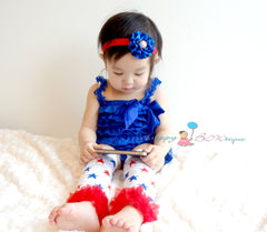 Royal Blue 4th of July Lace Petti Romper set - Happy BOWtique - children's clothing, Baby Girl clothing
