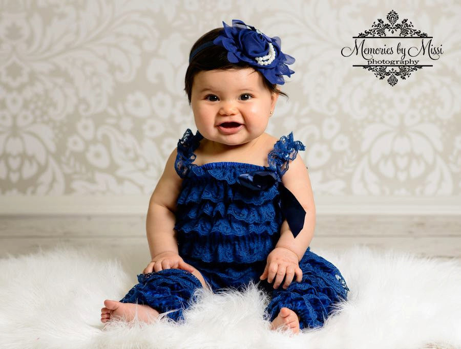 Navy Blue Petti lace Romper - Happy BOWtique - children's clothing, Baby Girl clothing